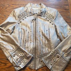 Double D ranch studded goldtone leather jacket Med